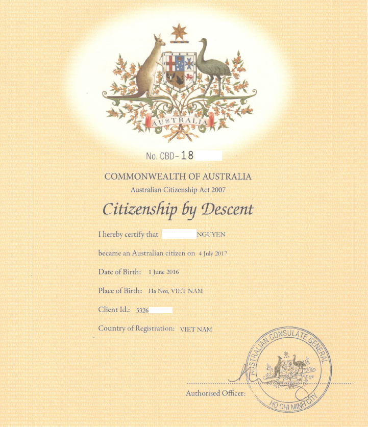 Quốc tịch Úc cho trẻ sinh tại Việt Nam