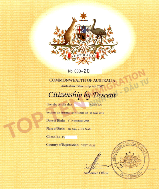 Đăng kí làm quốc tịch Úc theo huyết thống cho con sinh ngoài Úc tại Việt Nam